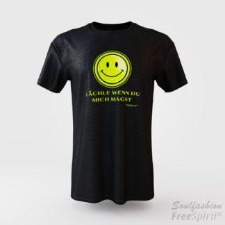 Herren T-Shirt - Lächle wenn Du mich magst - FreeSpirit Shop - black